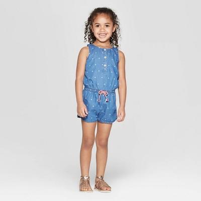 Toddler Girls' Polka Star Button Front Denim Romper - Cat & Jack™ Blue 12M