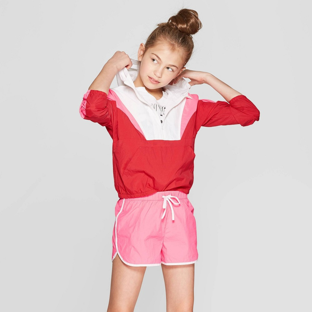 Girls' Windbreaker Jacket - art class L Red/White, Multicolored