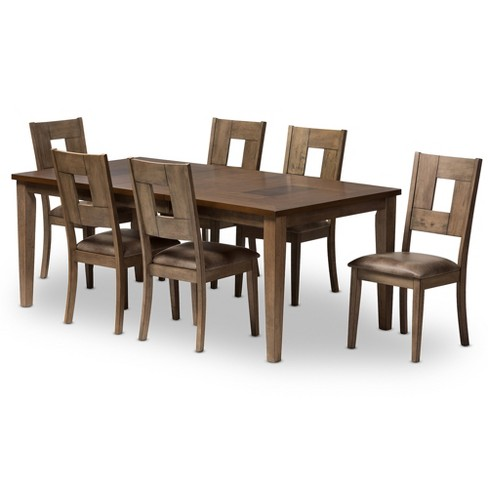 Gillian Shabby Chic Country Cottage 2 - Tone Finishing Oak Wood Veneer Top 7 - Piece Extendable Dining Set - Gray, Brown - Baxton Studio - image 1 of 6
