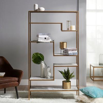 "72"" Marmo Large 5 Tier Display Shelf Faux Marble/Brass - Versanora"