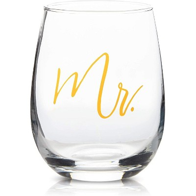 Sparkle and Bash Set of 2 Mr & Mrs Stemless Wine Glasses with Gold Foil 16 Oz