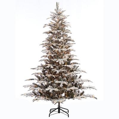 7.5ft Pre-lit Artificial Christmas Tree Flocked Full Alaskan Fir
