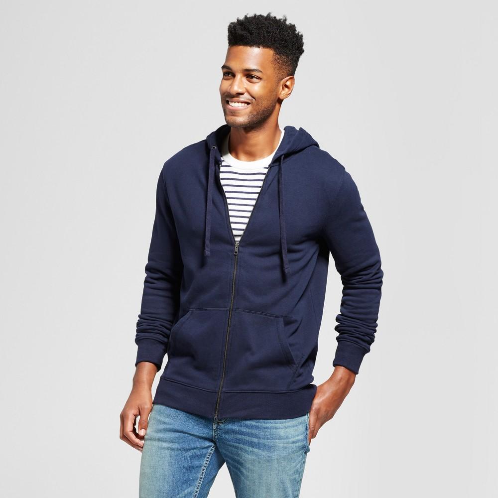 Men's Standard Fit Long Sleeve Hooded Fleece Sweatshirt - Goodfellow & Co Navy (Blue) S