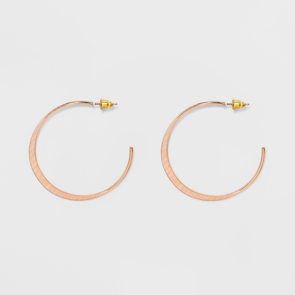 Open Hoop with Flat Casting Earrings - Universal Thread Rose Gold