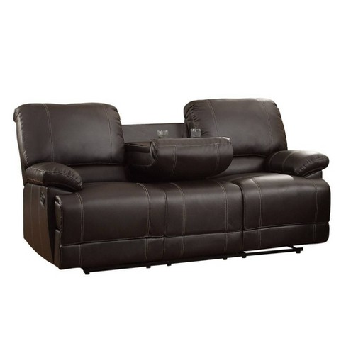 Leather Double Reclining Sofa With Drop Down Cup Holders Brown - Benzara - image 1 of 2