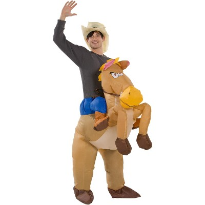 Gemmy Illusion Inflatable Costume Riding on Horse, 2.5 ft Tall, Multicolored
