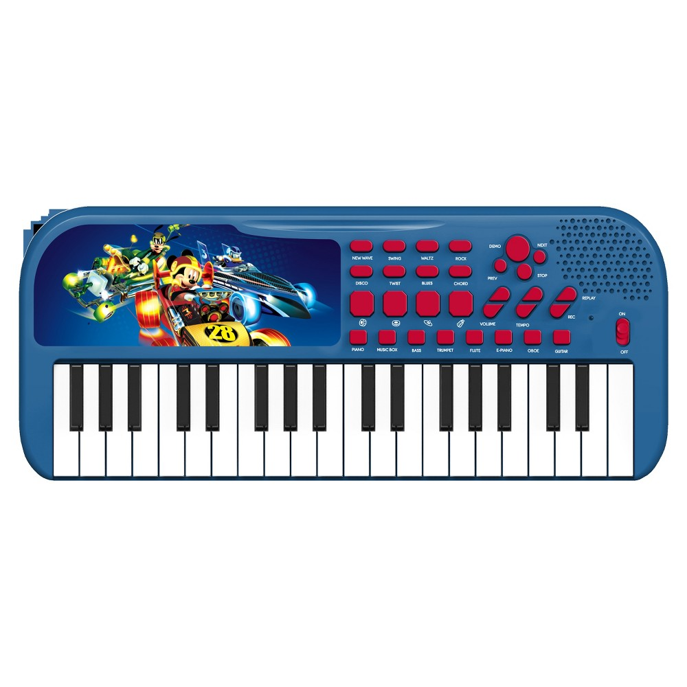First Act Licensed Keyboard - Mickey Roadster Racers Loaded with songs, sounds and rhythms! Play with 37 keys, tons of key sounds, rhythms and demo songs. Plus, record and playback feature for writing songs! Gender: Unisex.