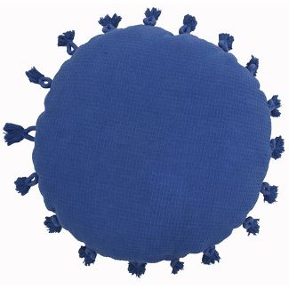 Oversized Round Hand Woven Cotton Pillow with Tassels Blue - Opalhouse™