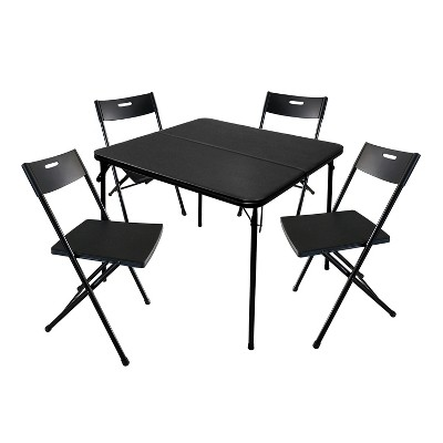 Plastic Development Group 8119IM 5 Piece 34 Inch Square Folding Card Table and 4 Metal Folding Chairs Furniture Set, Black