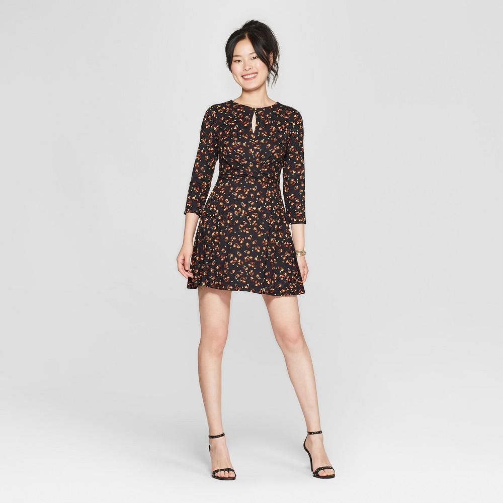 Women's Floral Print 3/4 Sleeve Cross Front Knit Dress - Lily Star (Juniors') Black/Rust/Gold S