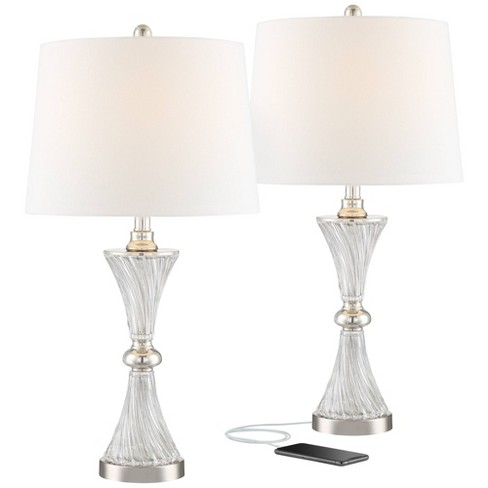 Regency Hill Modern Table Lamps Set Of 2 With Usb Charging Port Chrome And Glass Drum Shade For Living Room Family Bedroom Bedside Target