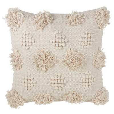 Down Filled Pom Pom Moroccan Pillow Ivory - Saro Lifestyle