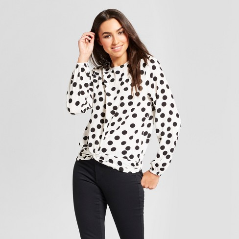 Bekend Women's Long Sleeve Polka Dot Blouse with Twist - Alison Andrews #YW37