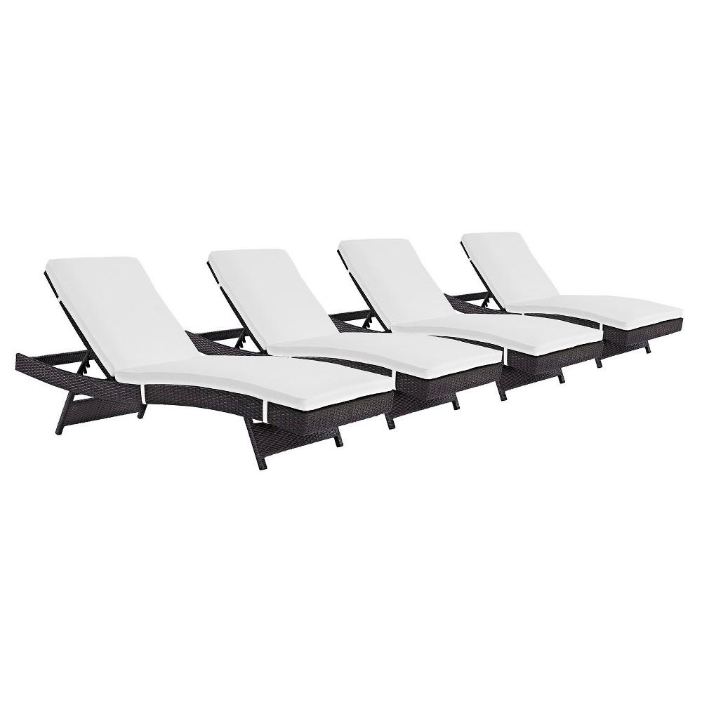 Convene 4pk All-Weather Wicker Patio Chaise Lounge - Espresso/White - Modway