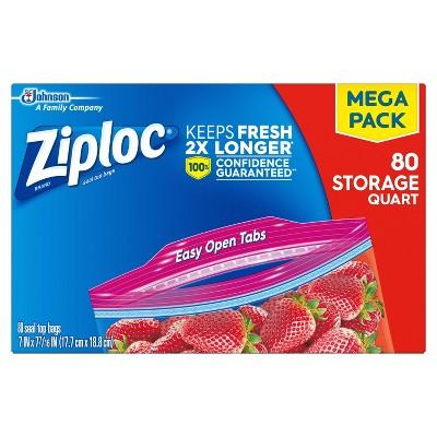 Ziploc Storage Quart Bags - 80ct