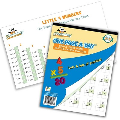 One Page A Day Single Digit Multiplication Workbook and Dry Erase Poster Math Kit - Channie's