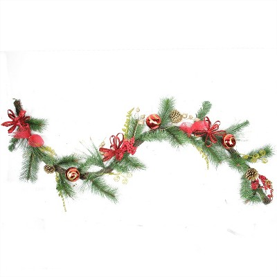 """Northlight 6' x 10"""" Unlit Red Burlap and Gold Pinecone Artificial Christmas Garland"""