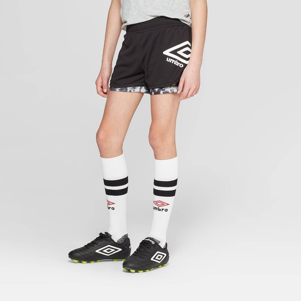 Umbro Girls' 2-in-1 Training Shorts - Black M