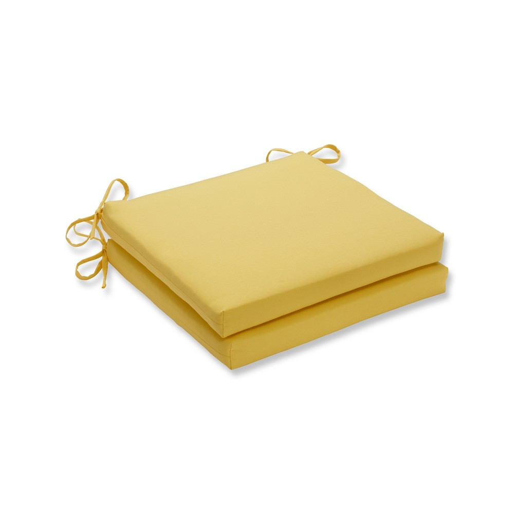 Fresco Solids 2pc Indoor/Outdoor Squared Corners Seat Cushion - Pillow Perfect, Yellow