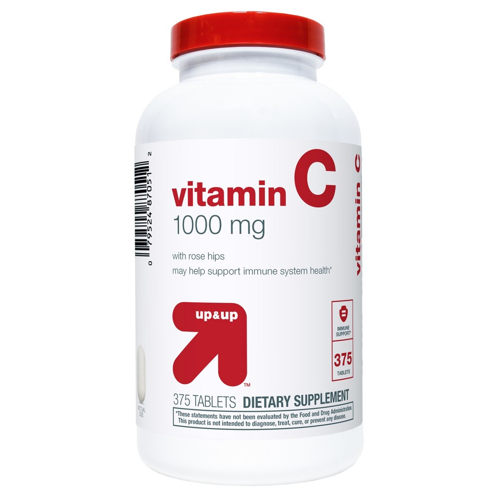 Vitamin C 1000mg with Rose Hips Tablets - 375 Tablets - Up&Up