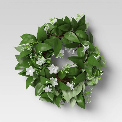 "12"" Artificial Flower Wreath White - Threshold™"