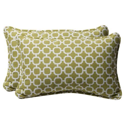 'Outdoor 2-Piece Lumbar Toss Pillow Set - Green/White Geometric 18'', Green White'