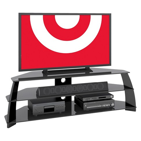 "Extra Wide Glossy TV Stand with Glass Shelves Black 65"" - CorLiving - image 1 of 3"