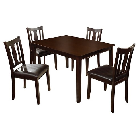 miBasics 5pc Curvy Cutout Back Chair Dining Table Set Wood/Espresso - image 1 of 2