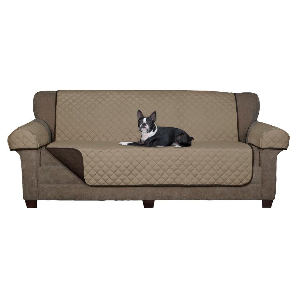 Image of Chocolate (Brown) Reversible Pet Cover Microfiber Sofa Loveseat Slipcover - Maytex