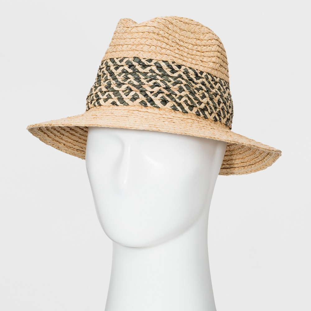 Men's Raffia Straw Fedora - Goodfellow & Co Natural L/XL, White