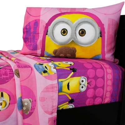3pc Minions Twin Bed Sheet Set Pink Buddy Buddy Bedding Accessories - Despicable Me..