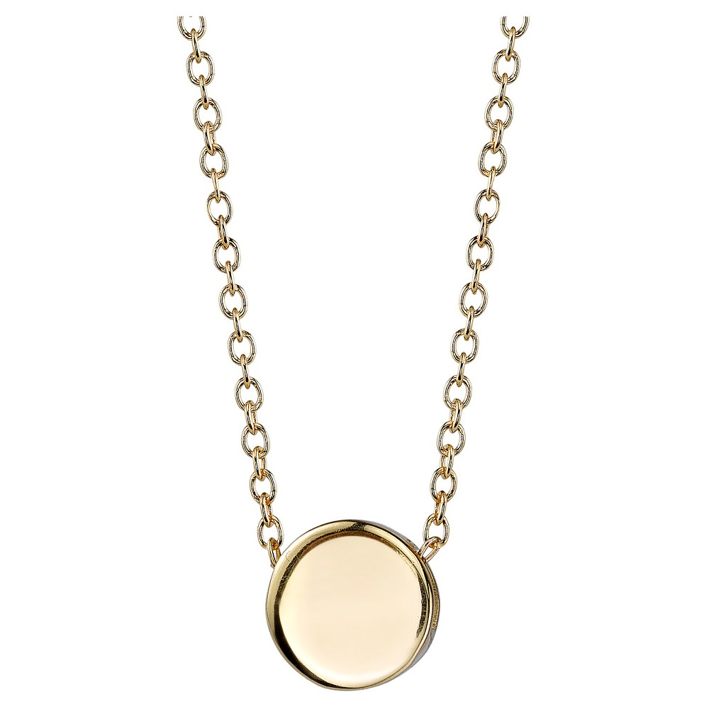 Women's Sterling Silver Solid Circle Station Necklace - Gold (18.4)