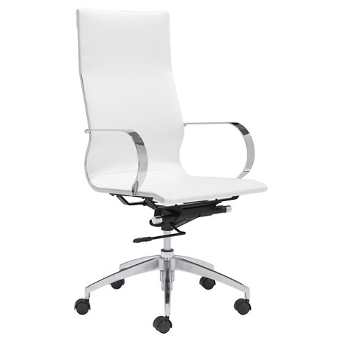 Elegant Modern High Back Adjule Office Chair White Zm Home