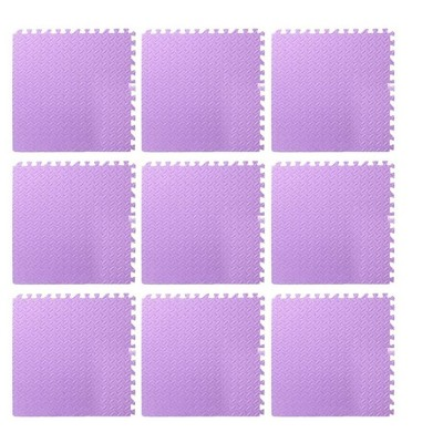 Puzzle Exercise Mat with EVA Foam Interlocking Tiles for MMA, Workouts, Exercise, Gymnastics and Home Gym Protective Flooring - Purple (9 Pack)