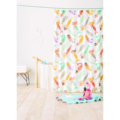 Mermaid Shower Curtain Gray Marble