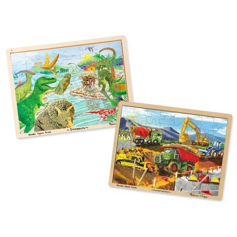 Melissa & Doug® Wooden Jigsaw Puzzle Set - Dinosaurs and Construction Site  Vehicles 96pc