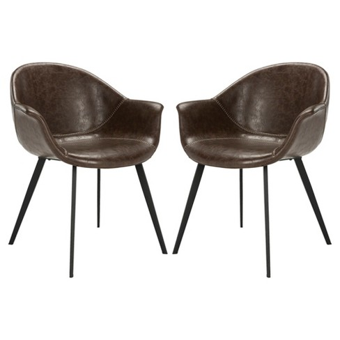 Set Of 2 Dublin Midcentury Modern Leather Dining Tub Chair Dark