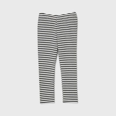 Toddler Girls' Striped Leggings - Cat & Jack™ Black/White