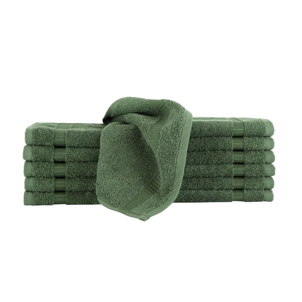 Image of 12pc Villa Washcloth Set Green - Royal Turkish Towel