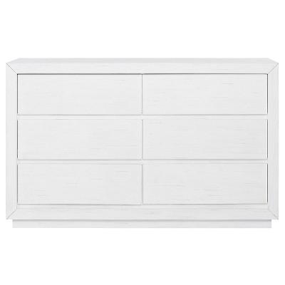 Evolur Maddox 6 Drawer Double Dresser - Weathered White