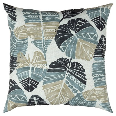 """22""""x22"""" Oversize Poly-Filled Leaf Pattern Botanical Indoor/Outdoor Square Throw Pillow - Rizzy Home"""