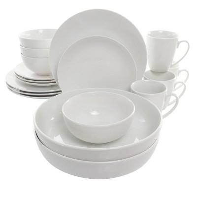18pc Porcelain Owen Dinnerware Set White - Elama
