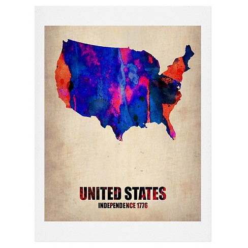 Naxart USA Watercolor Map 1 Art Print by Deny Designs - image 1 of 2