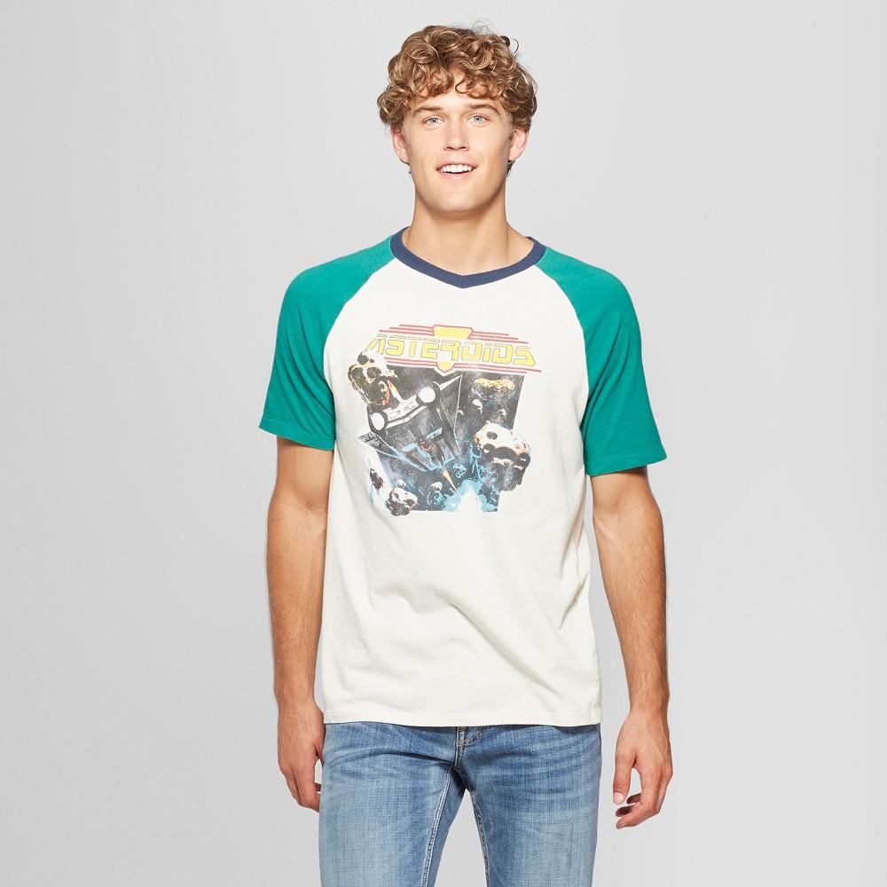 Junk Food Men's Atari Asteroids Raglan Short Sleeve T-Shirt - Optic White S