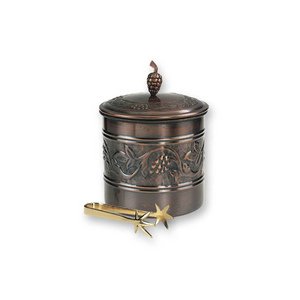 Image of Old Dutch 3qt Antique Embossed Heritage Copper Ice Bucket with Tongs