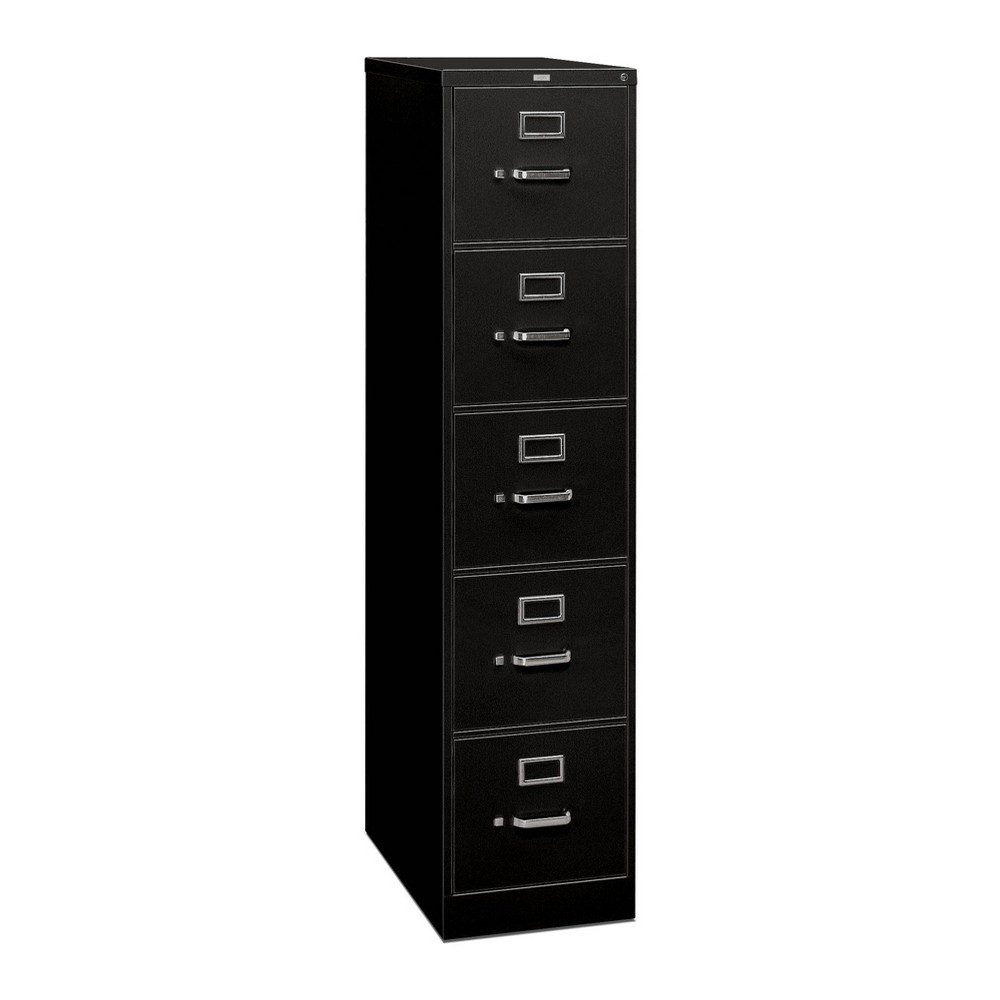 Image of 5 Drawer Filing Cabinet Full Suspension Letter File Cabinet Black - HON