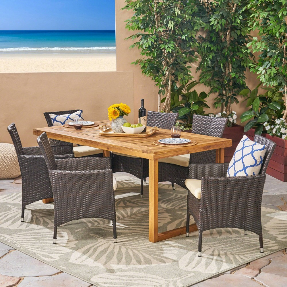 Moralis 7pc Acacia Wood and Wicker Dining Set - Natural/Beige - Christopher Knight Home