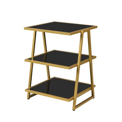 Garrity Accent Table Black Glass/Gold - Carolina Chair & Table