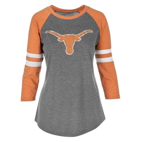 a453217c3 Texas Longhorns Women's Long Sleeve Fashion Raglan T-Shirt - Gray/Orange  Heather