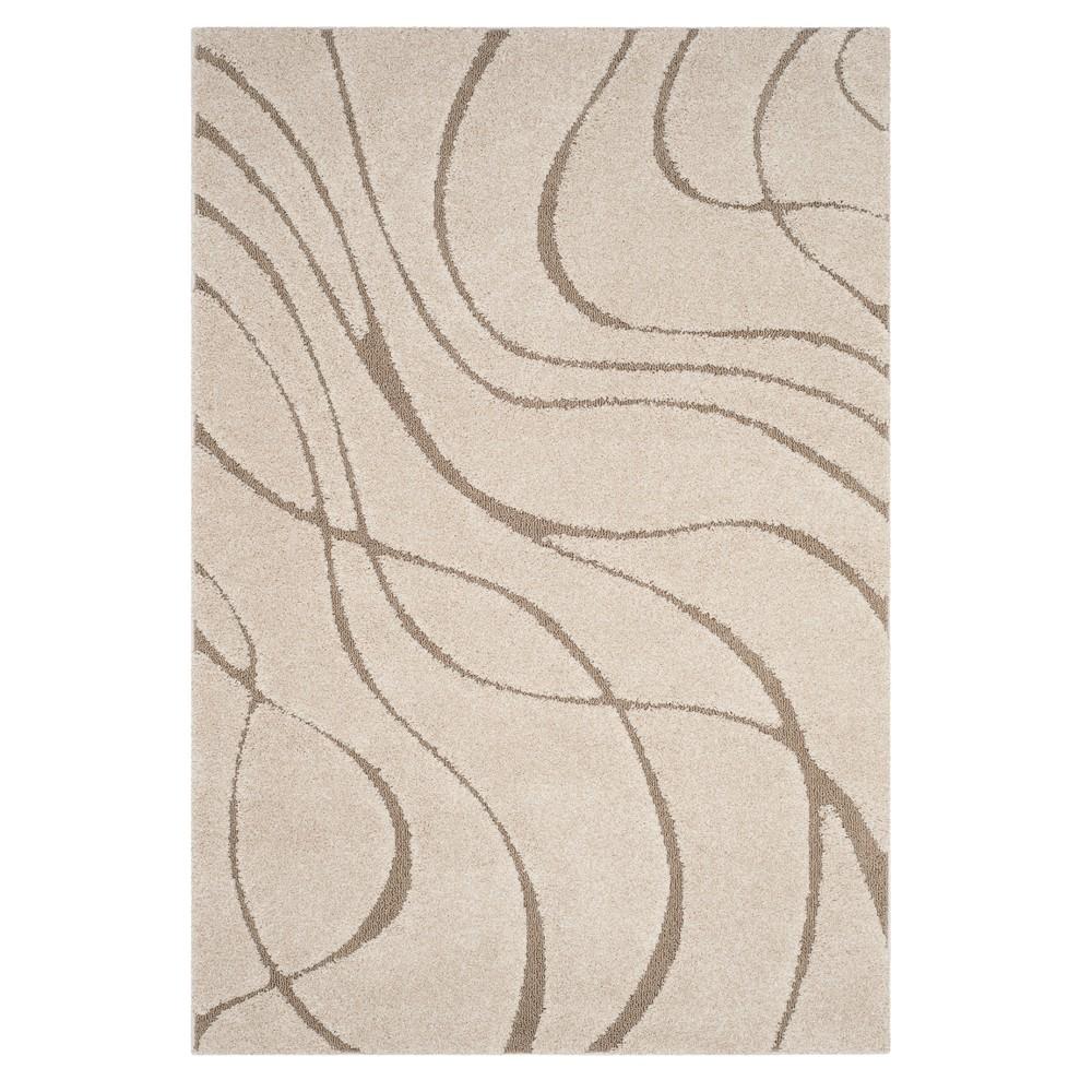 Cream/Beige (Ivory/Beige) Swirl Loomed Accent Rug 3'3